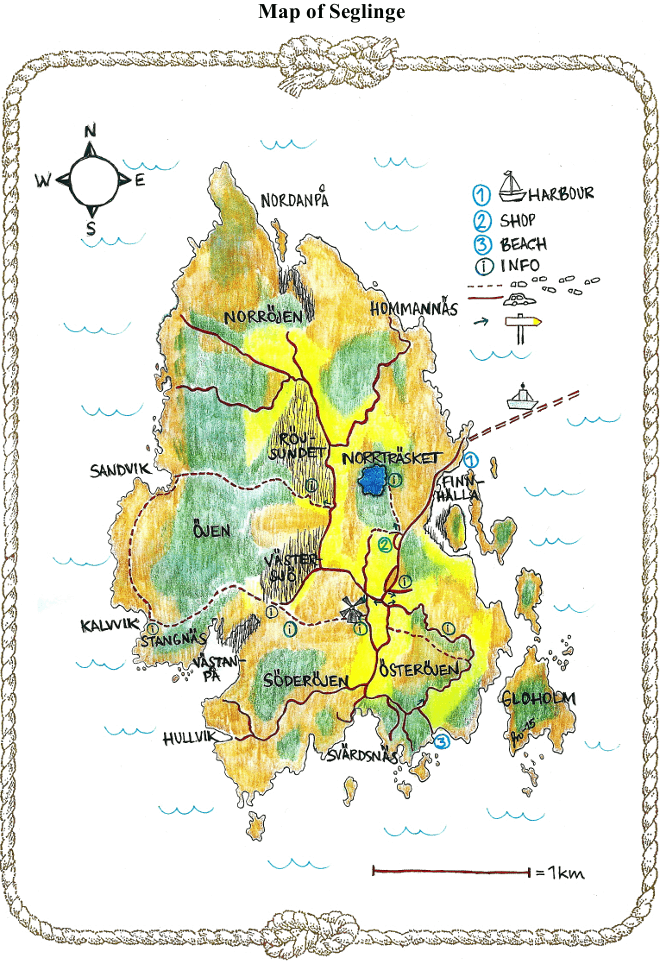 Hand-drawn map of Seglinge